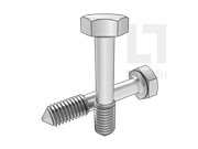 DIN 7964-1990 六角头不脱出螺钉L型长螺纹(锥尾)