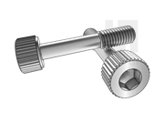 DIN 7964E-1990 滚花内六角圆柱头不脱出螺钉L型长螺纹(平尾)
