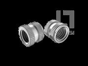 DIN 16903-1-1974 滚花通孔中间带槽台阶镶入螺母(D型)