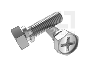 GB/T 9074.12-1988 十字槽凹穴六角头螺栓和弹垫组合